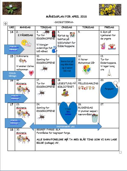 Månedsplan for april 2018