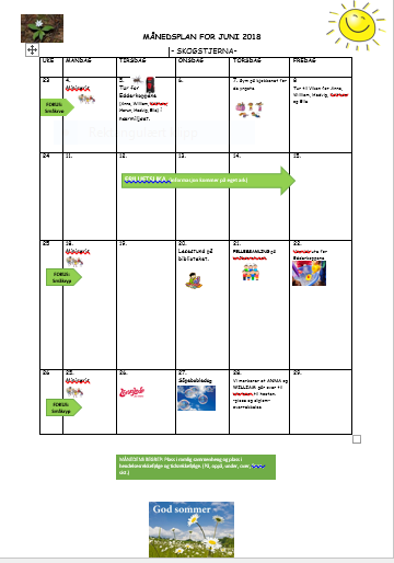 Månedsplan for juni